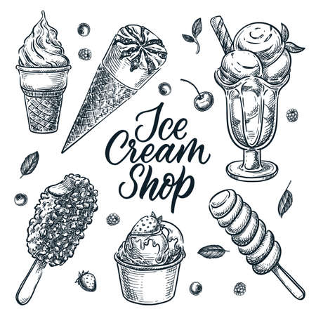 Ice cream shop or cafe design elements set, isolated on white background. Vector hand drawn sketch illustration of summer dessert and snacks Illustration
