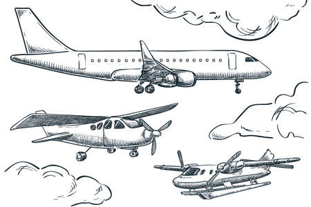 Planes collection, vector sketch illustration. Seaplane, hydroplane and tourist plane isolated on white background. Air travel hand drawn design elements Illustration