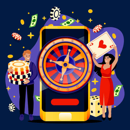 Online casino roulette and gambling games concept. Cheerful couple with poker chips and cards. Vector flat cartoon characters illustration. Man and woman playing casino games app Illustration