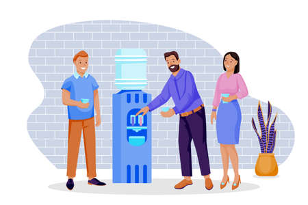 Colleagues have a break, talking and drinking water. Vector flat cartoon business characters illustration. Group of people stands near water cooler in office.