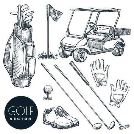 Golf club vector hand drawn icons and design elements set. Golf cart, ball, club, bag and accessories sketch illustration. Outdoor leisure activity stuff