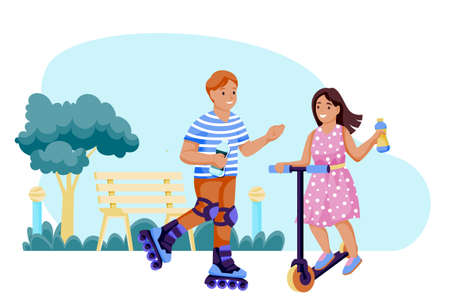 Boy and girl rollerblading and scooter in park and drink water. Vector flat cartoon characters illustration. Happy kids with lemonade bottles in hands