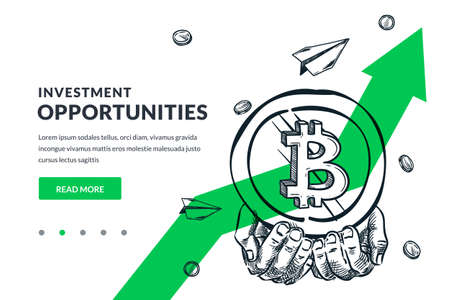 Human hands hold bitcoin coin on green arrow background. Investment, finance growth, mining technologies business concept. Hand drawn vector sketch illustration. Poster banner design template