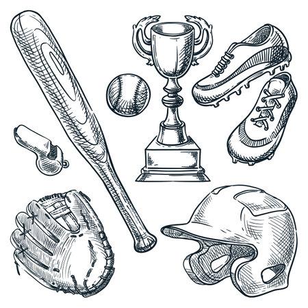 Baseball sports equipment. Vector hand drawn sketch illustration. Ball, glove, baseball bat, helmet icons isolated on white background