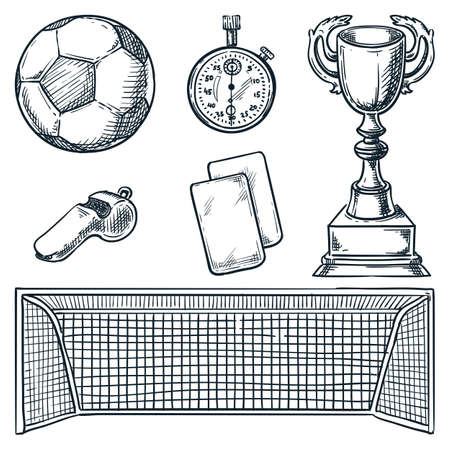 Soccer sports equipment. Vector hand drawn sketch illustration. Football ball, goal, and cards icons, isolated on white background