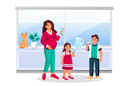 Mother, boy and girl drink water. Pregnant woman holds drinking glass. Vector flat cartoon characters illustration. Happy kids with mom in kitchen