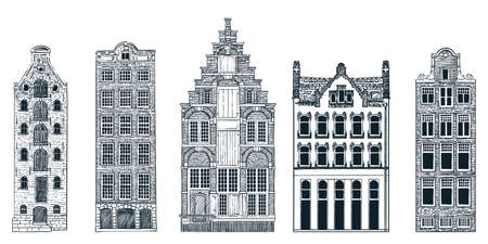 Amsterdam old city buildings isolated on white background. Vector doodle sketch illustration. Travel to Netherlands hand drawn design elements