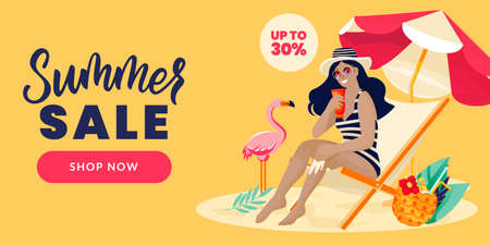 Young woman sits on sun lounger and smeared with sunblock cream. Vector flat cartoon illustration. Girl sunbathing on beach with sunscreen cosmetics. Summer face and body solar protection care concept