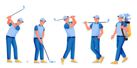Young male playing golf, vector flat cartoon character illustration isolated on white background. Golfer with golf club, ball and bag. Hobby and outdoor leisure activity concept Illusztráció