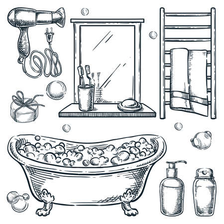 Bathroom interior isolated design elements. Vector hand drawn sketch illustration. Bath and shower accessories and equipment set. Bathtub with foam, shampoo, mirror, towel dryer doodle icons Illusztráció
