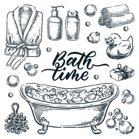 Bath and shower isolated design elements. Vector hand drawn sketch illustration. Bathroom accessories and equipment set. Bathtub with foam, shampoo, rubber duck, towel and bathrobe doodle icons