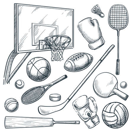 Sports equipment set. Vector hand drawn sketch illustration of basketball, tennis, badminton, boxing, hockey, volleyball, cricket games. Balls, rackets, gloves icons isolated on white background