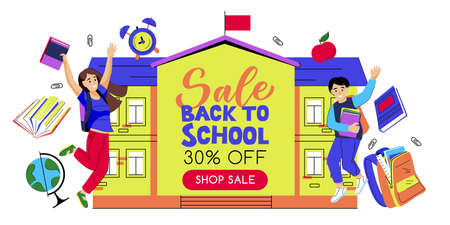 Back to school sale banner poster design template. Happy jumping boy and girl on yellow school building background. Vector flat cartoon illustration. Study and education concept