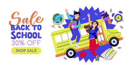 Back to school sale banner poster design template. Happy jumping kids on yellow school bus background. Vector flat cartoon illustration. Study and education concept