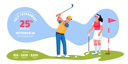Golf tournament or competition banner flyer, ticket layout. Young male and female playing golf, vector flat cartoon character illustration. Poster background with place for text
