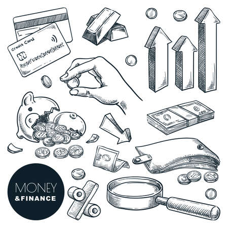 Money, investment and finance vector sketch icons. Crisis, financial losses and bankruptcy hand drawn design elements isolated on white background