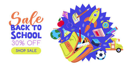 Open school backpack, flying rocket, books and pencils on blue explosion background. Vector flat cartoon illustration. Back to school sale banner poster design template. Study and education concept Illusztráció