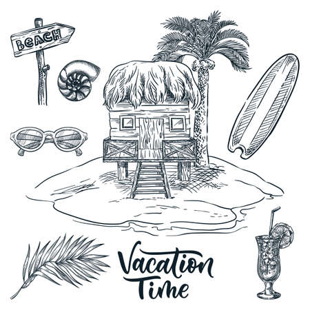 Wooden bungalow under palm tree on tropical island, vector hand drawn sketch landscape illustration. Summer vacation design elements. Surfboard, palm leaf, cocktail and sunglasses vintage icons