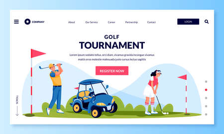Young man and woman playing golf, vector flat cartoon character illustration. Golf tournament or competition banner flyer, ticket layout. Illusztráció
