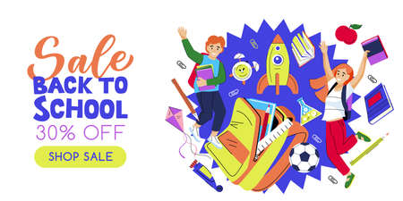 Happy jumping kids, open school backpack and flying rocket on blue background. Vector flat cartoon illustration. Back to school sale banner poster design template. Study and education concept Illusztráció