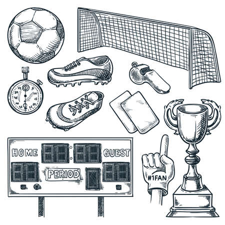 Soccer sports equipment. Vector hand drawn sketch illustration. Football ball, scoreboard, goal, and trophy cup icons, isolated on white background