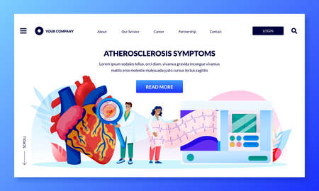 Atherosclerosis symptoms concept. Doctors diagnose human heart, blood vessels and do cardiogram. Vector flat cartoon characters illustration. Consultation of professional cardiologist medical clinic