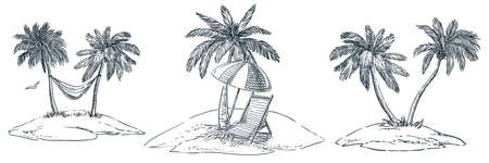 Tropical islands with palm trees, hammock, parasol and chaise longue. Vector hand drawn sketch landscape illustration. Summer beach vacation design elements
