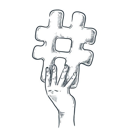 Human hand holding hashtag sign. Vector hand drawn sketch illustration. Social network communication doodle icon, isolated on white background. Internet media marketing concept