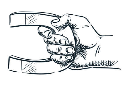 Human hand holding magnet. Vector hand drawn sketch illustration. Doodle icon, isolated on white background. Abstract business, marketing attraction or science concept