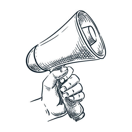 Human hand holding loudspeaker. Vector hand drawn sketch illustration. Megaphone doodle icon, isolated on white background. Advertisement, marketing, referral program concept