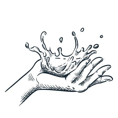 Clean water splash on human hand. Vector hand drawn sketch illustration. Skin care and spa procedures design element.