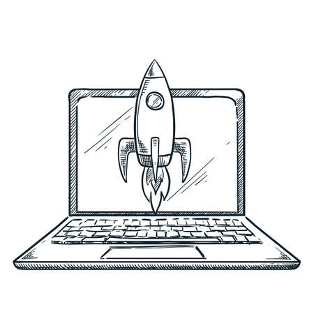 Rocket flies out of laptop screen. Vector hand drawn sketch illustration. Business projects startup and innovation technologies concept Illusztráció