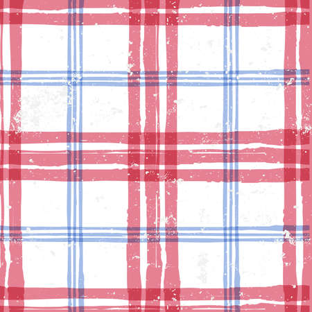 Abstract watercolor tartan vector seamless pattern. Fashion textile check plaid print in blue red white colors. Art ink grunge texture background. Trendy fabric design or wrapping paper