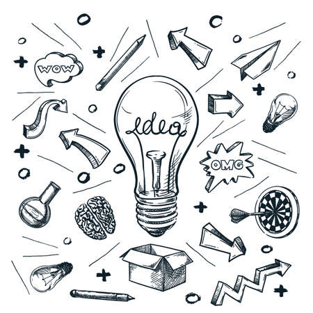 Successful idea and business startup concept. Vector hand drawn sketch illustration isolated on white background. Creative light bulb doodle abstract print design.