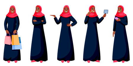 Arab young happy woman in traditional clothing in different poses isolated on white background. Arabic muslim female shopping, talking on phone, doing makeup. Vector cartoon characters illustration