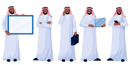 Arab young happy man in traditional clothing in different poses isolated on white background. Arabic muslim male businessman set. Vector flat cartoon characters illustration