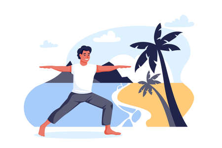 Guy stands in a warrior pose virabhadrasana on sea beach. Outdoor yoga exercise practice. Man training alone on nature. Vector cartoon character illustration. Healthy lifestyle relaxing time concept Illusztráció