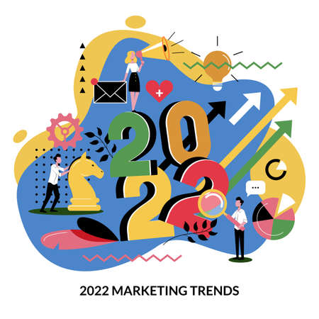 Digital marketing trends business plan and strategy for 2022 new year. Expectation and perspective concept. Vector flat cartoon illustration for web landing page banner or poster design Illusztráció