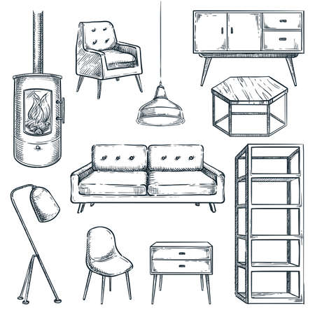 Living room modern furniture icons set. Vector hand drawn sketch illustration. Interior design elements isolated on white background. Cozy contemporary loft home furniture collection