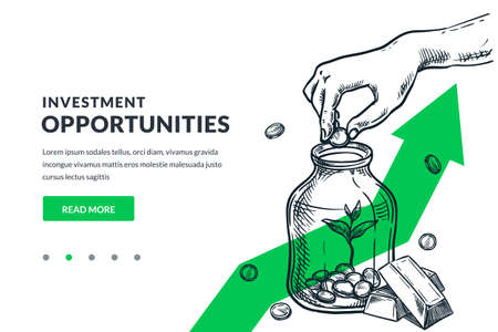 Investment, saving money and finance growth business concept. Human hand putting coin in clear glass jar on green arrow background. Hand drawn vector sketch illustration. Poster banner design Illusztráció