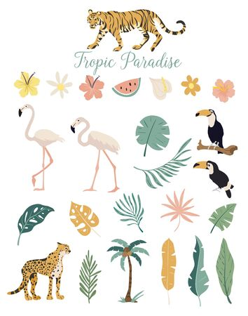 Tropic paradise animals flowers and plants
