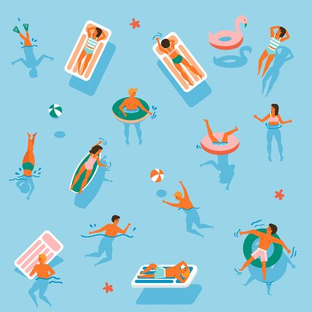 Vector seamless pattern. People swim on inflatable circles, inflatable mattresses, Top view. Summer time. Men and women swim in the ocean, sea, swimming pool. View from above.