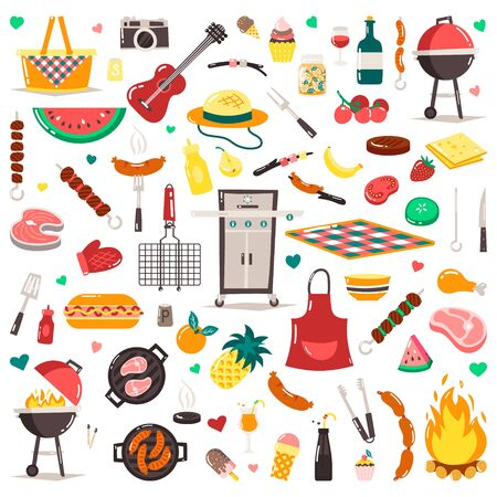 Summer, spring barbecue grill and picnic icons set. Snacks, vegetables, healthy food. Meat, sausages, bottles with sauces and other grill tools. Party items, decorations. Isolated on white background.