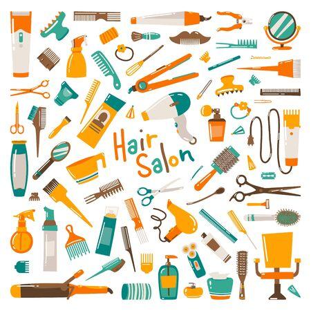Corte de cabello, manicura, maquillaje, coloración del cabello, peluquería, herramientas de belleza profesionales de peinado y equipo grande. Hermosa ilustración de moda en estilo ahogado de mano aislado sobre fondo blanco.