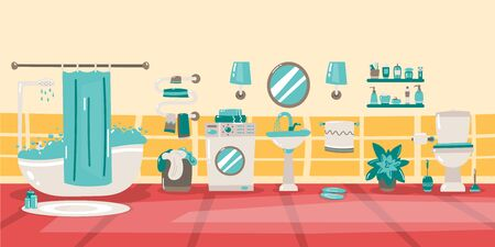Vector cartoon bathroom interior background template. Modern home, hotel apartment lavatory, restroom with furniture and hygiene accessories. Mirror over the sink.