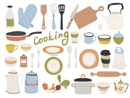 Kitchen doodle vector icon set
