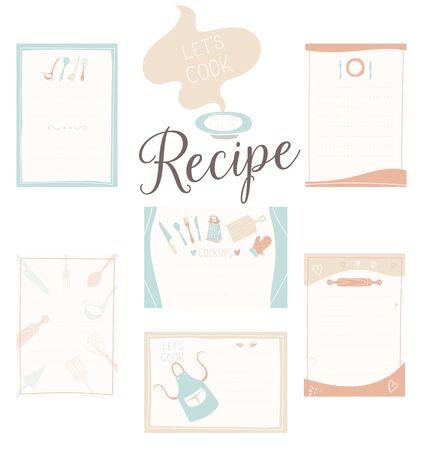 Retro recipe card template set for cookbook. Menu creator vector illustration. Kitchen food template Ilustracje wektorowe