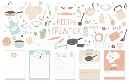 Modern Recipe card template set for cookbook. Menu Creator Vector Illustration Çizim