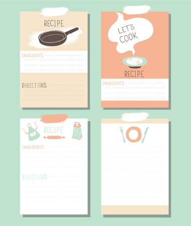 Lets Cook - recipe cards. Kitchen note vector template.