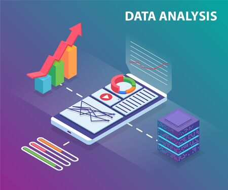 Isometric Analysis data and cloud processind big data. Can use for web banner, infographics, and other images. Flat isometric vector illustration on violet background.